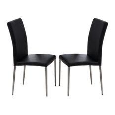 Vestavia Dining Parsons Chairs, Black Vinyl & Chrome Metal Legs, Set Of 2
