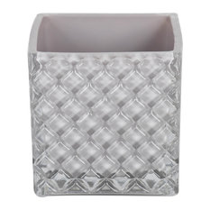 """4"""" Square Glass Container, Set of 2, Crystal Gray"""