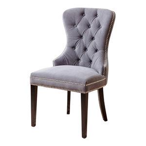 Abbyson Living Miiko Tufted Velvet Dining Chair, Gray