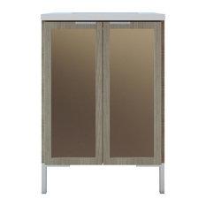 Freestanding Bathroom Vanity Bronze Mirror Insert 24-inch Weathered Ash
