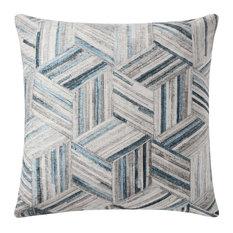 "Gray/Multi 22""x22"" Woven Chenille Printed Faux Hide Pillow Pillow, No Fill"