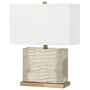 "Safavieh Delia 20.5""H Faux Alligator Table Lamp, Cream, Gold"