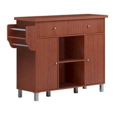 Kitchen Island With Spice Rack and Towel Rack, Cherry