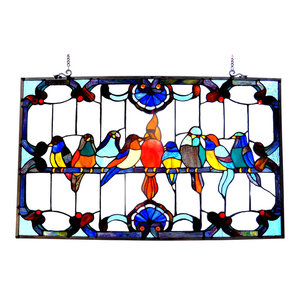 Chloe-Lighting Tiffany-Glass Featuring Gathering Birds Window Panel