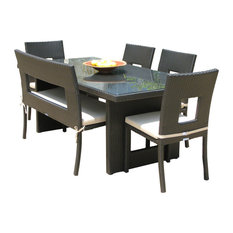 Outdoor Wicker All Weather 6-Piece Dining Table Chair and Bench Set