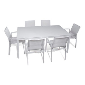Outdoor Patio Furniture Aluminum Gray Frosted Glass Rectangle Dining 7-Piece Set