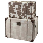Imax Worldwide Home - Trisha Yearwood Cowboy Storage Trunks, Set of 2 - This set of two trunks is the perfect accent to the Cowboy Collection. They are covered in a cow print fabric and feature wood and brass accents on the sides and top. Coordinating book boxes and trays.
