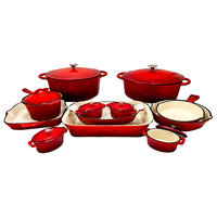Le Chef 19-Piece All Enameled Cast Iron Cherry Cookware Set