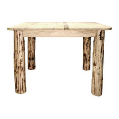 Montana Collection Square 4 Post Dining Table, Clear Lacquer Finish
