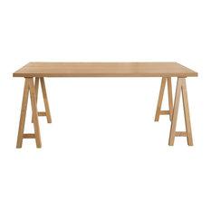GDF Studio Sabrina Farmhouse Wood Finish Dining Table, Natural Oak