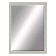 """Beveled Mirror, Gray Whitewashed Wood, 24""""x36"""""""