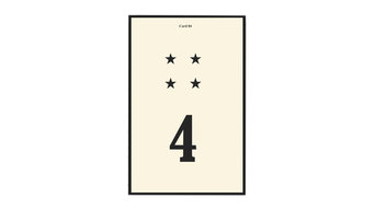 Number 4 Flash Card Art, Black