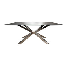 Star International Furniture   Star International Ritz Mantis Leg  Rectangular Table, Crackled Smoke Glass Top