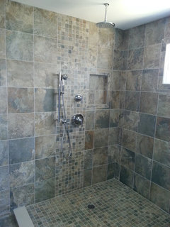 Same Tiles On Bathroom Floor And Shower Wall