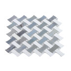 """10.8""""x10.8"""" Filigree Morning Fog Marble Tile"""
