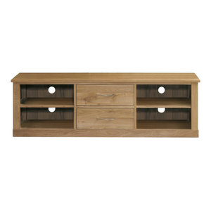 2 Drawer Mobel Contemporary Oak Mounted Widescreen Television Cabinet