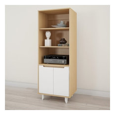 Nordik Bookcase, White and Natural Maple