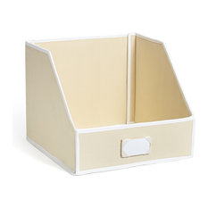 Collapsible Linen Closet Storage Bin with Front-Folding Lid, Beige, Large