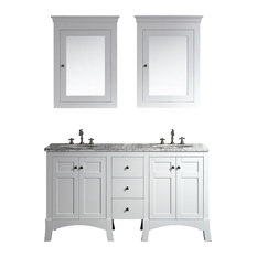 "New York Vanity With Carrera Marble Counter Top and Sink, 60"", White"