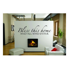 """Bless This Home Picture Art Vinyl Decal, 18x72"""""""