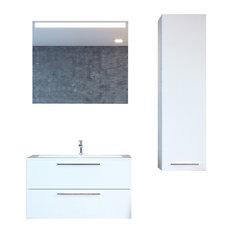 Elke Wall Mount Single Sink Bathroom Vanity Set With LED Mirror Glossy White 4