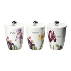 Intrada Vivere Set Of 3 Square Canisters Iris Kitchen Canisters And Jars