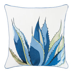 Blue Agave Embroidered Sunbrella Pillow