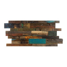 """Timber 11.81""""x23.62"""" Wood Mosaic Tile, Green/Brown/Beige/Gray"""