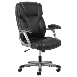 Essentials by OFM Ergonomic High-Back Leather Chair with Arms, Black and Silver