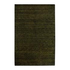Plain Gabbeh Wool Rug, Black-Green, 300x80 cm