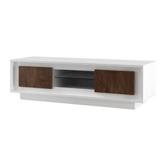 Amber III Modern TV Stand, White and Oak Cognac Finish