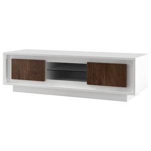 Amber III Modern TV Stand, White and Oak Cognac Finish