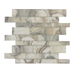 """11.75""""x11.75"""" Magical Forest Linear Glossy Glass Tile, Snow Palace Gray"""