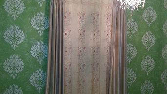 Girls Bedroom, Custom Stencil Walls Pinch Pleat Drapery Embroidered panel