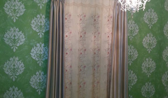 Girls Bedroom, Custom Stencil Walls Pinch Pleat Drapery Embroidered panel