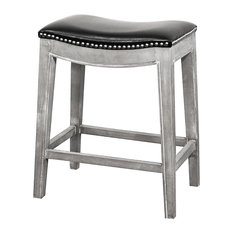 Elmo Bonded Leather Counter Stool, Black