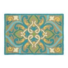Morocco Damask Hand Hooked 2'x3' Outdoor Doormat, Aqua