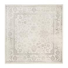 "Safavieh Adirondack Adr109C Rug, Ivory/Silver, 10'0""x10'0"" Square"