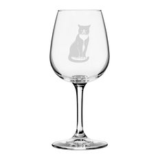 Tuxedo, Sitting Cat Themed Etched All Purpose 12.75oz. Libbey Wine Glass