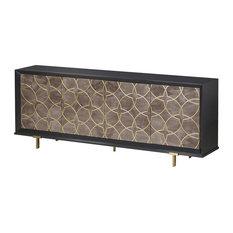 Maison 55 Cohen Modern Classic Wood 4 Glass Door Buffet Sideboard