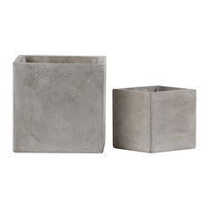 Cement Square Pots, Smooth Design Body, 2-Piece Set, Natural Light Gray