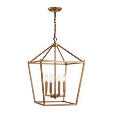 "Pagoda 4-Bulb Lantern Metal LED Pendant, Gold, 16"""