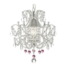 Wrought Iron and Crystal White Chandelier Pendant With Pink Crystal Hearts