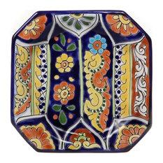 "Mexican Talavera 9"" Octagonal Plate, Design D"
