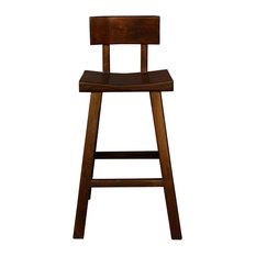 Quality Handmade Wood Dark Brown Color Tall A Shape Bar Stool With Back Hwk2170