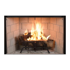 """38"""" Traditional Wood-Burning Fireplace With Gray Stacked Panels"""