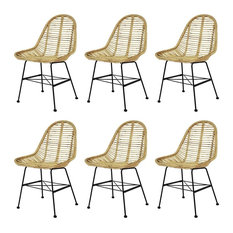 VidaXL 6x Dining Chair Natural Rattan Wicker Brown Colonial Kitchen Home Seat