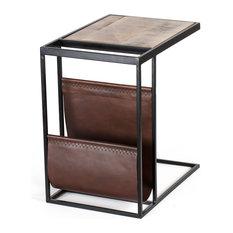 Avignon Sofa Table With Leather Magazine Rack