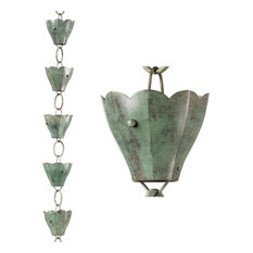 Good Directions, Inc. - 13 Cup Tulip Pure Blue Verde Copper 8.5' Rain Chain Leader by Good Directions - Rain Chains