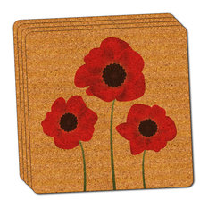 Red Poppies Flower Thin Cork Coaster Set of 4